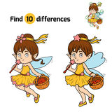 Find differences (little fairy with a basket of fruit). Game for children: find differences (little fairy with a basket of fruit Stock Photo
