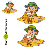 Find differences. Little girl builds a sand castle. Find differences, education game for children. Little girl builds a sand castle on the beach Stock Image