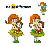 Find differences. Little girl with a doll in hands. Find differences, education game for children. Little girl with a doll in hands Stock Photography