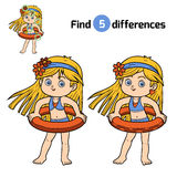 Find differences. Little girl with lifebuoy. Find differences, education game for children. Little girl with lifebuoy on the beach Stock Images