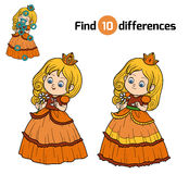 Find differences, little princess with a flower. Find differences, education game for children, little princess with a flower Stock Photography
