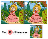 Find differences, little princess with a flower in garden. Find differences, education game for children, little princess with a flower in garden Stock Image