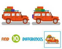 Truck  find 10 differences. Find differences logic education interactive game for children. Big good orange safari car auto truck SUV for traveling, travel Royalty Free Stock Photos