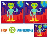 Alien on mars find 10 differences. Find differences logic education interactive game for children. Cute friendly in space suit alien astronaut  from mars or Stock Photography