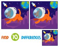 Dof astronaut find 10 differences. Find differences logic education interactive game for children. Cute smile orange dog in space suit helmet first astronaut Stock Images
