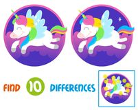 Unicorn find 10 differences. Find differences logic education interactive game for children. ute smile fantasy little pony colorful unicorn which fly in Royalty Free Stock Images