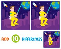 Warrior find 10 differences. Find differences logic education interactive game for children. Young cute cosmonaut astronaut fighter warrior boy which keep space Royalty Free Stock Images