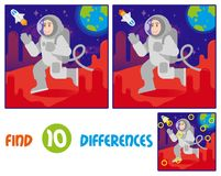 Astronaut on mars find 10 differences. Find differences logic education interactive game for children. Young happy smile cute cosmonaut astronaut in space suit Stock Image