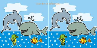 Find the 10 differences-marine life. A game for children and adults - Find ten differences, the topic sea life Stock Images