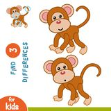 Find differences, Monkey. Find differences, education game for children, Monkey Royalty Free Stock Image