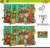 Find differences with monkeys animal characters. Cartoon Illustration of Finding Seven Differences Between Pictures Educational Activity Game for Kids with Stock Photography