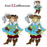 Find 11 differences musketeer. Vector and cartoon illustrations Stock Photos