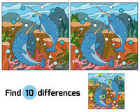 Find differences (narwhal). Find differences game for children (narwhal Royalty Free Stock Image