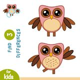 Find differences, Owl. Find differences, education game for children, Owl Stock Images