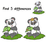 Find differences (panda). Game for children: Find 5 differences (panda Stock Images