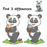 Find 3 differences (panda). Game for children: Find 3 differences (panda Stock Photo