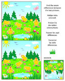 Find the differences picture puzzle with chicks. Spring, Easter or summer visual puzzle: Find the seven differences between the two pictures with happy playful Royalty Free Stock Photo