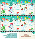 Find the differences picture puzzle - christmas snowmen Royalty Free Stock Images