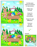 Find the differences picture puzzle with Easter bunny, eggs, chicks and basket. Easter themed visual puzzle: Find the seven differences between the two pictures Royalty Free Stock Photography