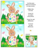 Find the differences picture puzzle with Easter bunny and painted egg. Visual puzzle: Find the seven differences between the two pictures with Easter bunny and Stock Images