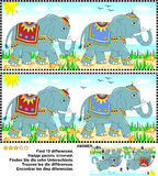 Find the differences picture puzzle - elephants Stock Photography