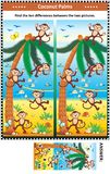 Find the differences picture puzzle with monkeys, beach, coconuts. Visual puzzle with happy playful monkeys on the beach and coconut palms: Find the ten Stock Images
