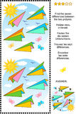 Find the differences picture puzzle with paper planes Stock Image