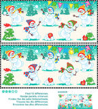 Find the differences picture puzzle - playful snowmen royalty free illustration