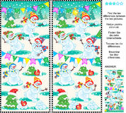 Find the differences picture puzzle - playful snowmen. Christmas, New Year or winter themed visual puzzle: Find the ten differences between the two pictures vector illustration
