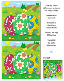 Find the differences picture puzzle with three Easter eggs Royalty Free Stock Images