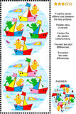 Find the differences picture puzzle with toy boats raceFind the differences picture puzzle with toy boats race. Visual puzzle: Find the seven differences between Royalty Free Stock Photo