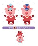Find differences between pictures. Vector cartoon educational game. Cute pig in red dress. stock illustration