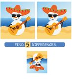 Find differences between pictures. Vector cartoon educational game. Cute snowman in a sombrero and with a guitar. royalty free illustration