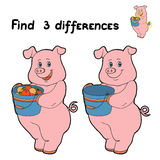 Find 3 differences (pig). Game for children: Find 3 differences (pig Stock Photos