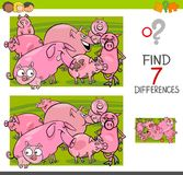 Find differences with pigs farm animal characters. Cartoon Illustration of Finding Seven Differences Between Pictures Educational Activity Game for Kids with Royalty Free Stock Photo