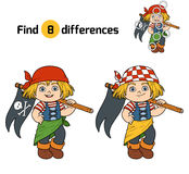 Find differences (pirate girl and flag). Find differences, education game for children (pirate girl and flag Royalty Free Stock Photo