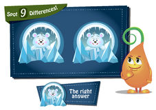 Find 9 differences  polar bear. Visual Game for children. Task: find 9 differences Stock Photo
