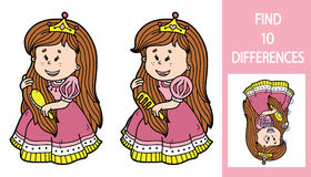 Find differences princess game. Vector illustration of finding differences educational game with cute cartoon princess for children Stock Image