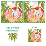 Find the 10 differences puzzle with answer. Cartoon summer beach and sea. Nature and plants Royalty Free Stock Images