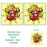 Find 5 differences - puzzle for kids. Find 5 differences  - puzzle for kids - vector Stock Photo