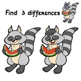 Find differences (raccoon) Stock Photo