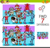Find differences with robot characters Royalty Free Stock Photos