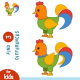 Find differences, Rooster. Find differences, education game for children, Rooster Royalty Free Stock Photo