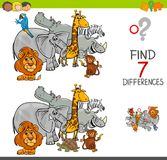 Find differences with safari animals characters. Cartoon Illustration of Finding Seven Differences Between Pictures Educational Activity Game for Kids with Royalty Free Stock Images