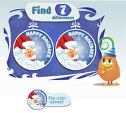 Find 5 differences santa claus. Visual Game for children. Task: find 5 differences Stock Image