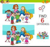 Find differences with school children characters. Cartoon Illustration of Finding Eight Differences Between Pictures Educational Activity Game for Kids with Stock Photography