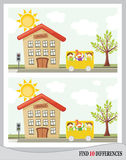 Find 10 differences - school (). Find 10 differences - kids going in school bus in front of school Stock Image