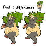 Find differences (sheep and christmas tree). Game for children: Find 3 differences (sheep Royalty Free Stock Images