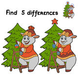 Find differences (sheep). Game for children: Find 5 differences (sheep Stock Photos
