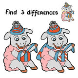 Find 3 differences (sheep). Game for children: Find 3 differences (sheep Royalty Free Stock Image